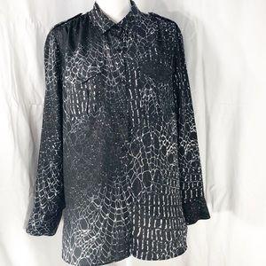 DKNY Black / White Blouse Button Up Blouse   A127